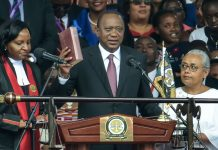 Kenya President Uhuru Kenyatta with First Lady Margaret at Swearing In on November 28, 2017