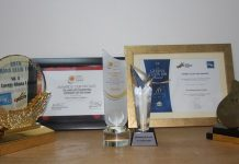 A display of all the awards