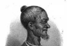 Drawing of Badu Bonsu II made by a Dutch lieutenant, 1838
