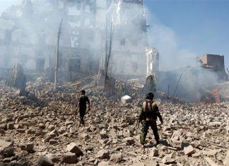 Yemen damage by Saudi airstrikes, Dec. 5, 2017