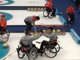 Chinese wheelchair curling team defeats the defending champion Canada during PyeongChang Winter Paralympic Games on Mar. 16, 2018. (Photo from the official website of the PyeongChang Winter Paralympic Games)