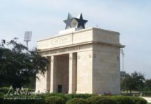 The Independence Arch on the Black Star Square of Accra, capital of Ghana. (Photo by People's Daily Online)