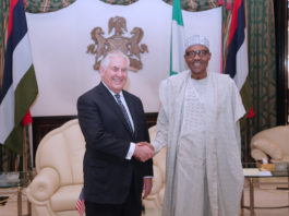 PRESIDENT BUHARI RECEIVES US SEC OF STATE 1. R-L; President Muhammadu Buhari receives The U.S. Secretary of State. Mr Rex Tillerson during a visit at the State House in Abuja. PHOTO; SUNDAY AGHAEZE. MAR 12 2018.