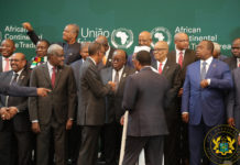 President Akufo-Addo interacting with President Paul Kagame
