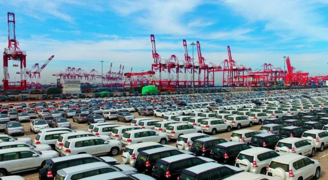 Imported cars are parked at Qingdao Qianwan Free Trade Port Zone, east China's Shandong province. (Photo from CFP)