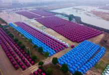 Photo taken on January 19, 2018 shows shared cars at parking lot of the Kandi Electric Vehicles (Changxing) Co., Ltd in east China's Zhejiang province. The cars are waiting to be put into market. (Photo by Wang Bin from People's Daily Online)