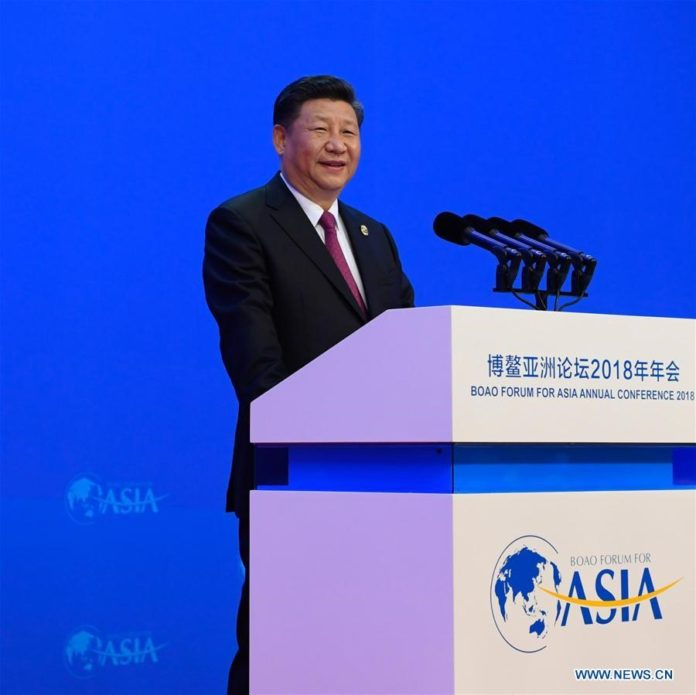 Chinese President Xi Jinping delivers a keynote speech at the opening ceremony of the Boao Forum for Asia Annual Conference 2018 in Boao, south China's Hainan Province, April 10, 2018. (Xinhua/Li Xueren)