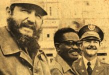 Cuba Presidents Fidel and Raul Castro with Angolan President Dr. Agostino Neto