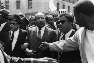 Martin Luther King Jr. leads final demonstration on March 28, 1968 in Memphis