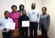 The two award winners with Ambassador Pobee in their middle as well as officials of Lifelink and Ghana Mission in New York.