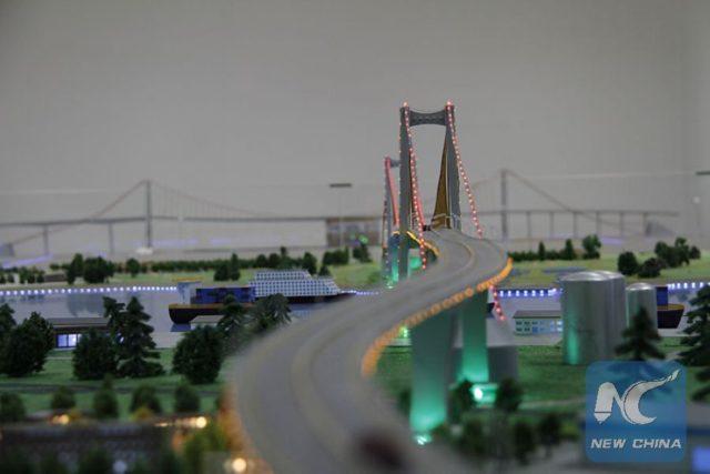 Sand table model of Maputo-Catembe Bridge. (Xinhua/Li Xiaopeng)