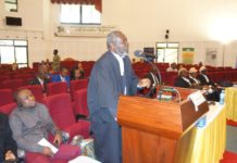 Mr Godfred Yeboah Dame applicant's lead counsel making a presentation at the African Court