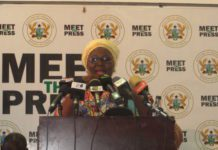 Hajia Alima Mahama addressing the press