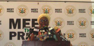 Hajia Alima Mahama addressing the press