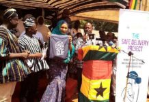 "Mrs Samira Bawumia in veil launching the ""Safe Delivery project"" in Salaga"
