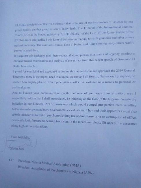 Sen. Shehu Sani Writes Kaduna Chief Medical Psychiatrist