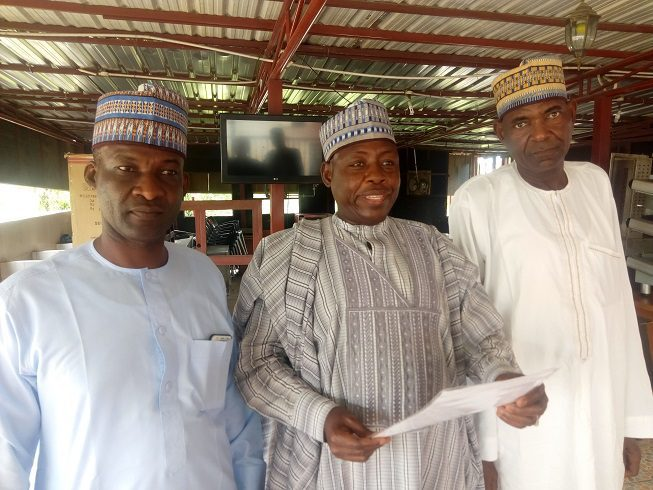 Mr. Ali Abacha and Executive members of Northern Patriotic Front (NPF) during the press conference held in Abuja.