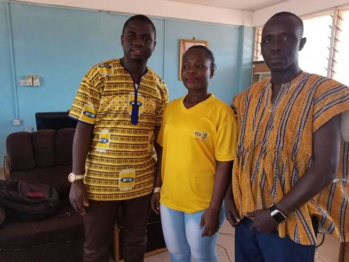 Mr Dasmani Laary, the Upper West Regional Manager of GNA (from right); Ms Emelia Anang, Upper West Business Representative of MTN (Middle) and Mr Obed Adu-Amankwah, the Upper West Territory Sales Controller of MTN Ghana (from left).