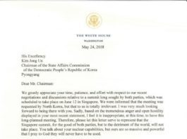 White House Official letter cancelling meeting with North Korea