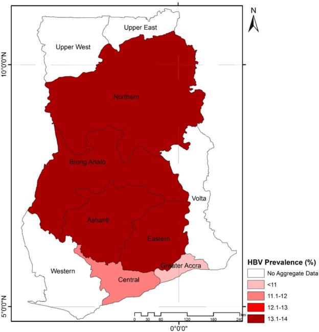 HBV Prevalence by Regions in Ghana