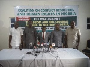 Maxwell Gowon (3rd left) shortly after he addressed the world press conference