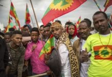 Ethiopia Oromo population greet returning OLF members in Addis Ababa in Sept. 2018