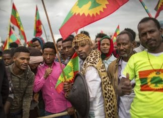 Ethiopia Oromo population greet returning OLF members in Addis Ababa in Sept. 2018
