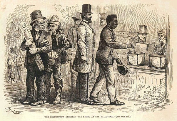 Black Reconstruction voters scrutinized with hate by the white ruling class