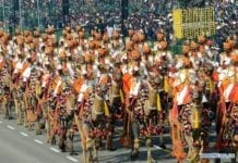 Border Security Force (BSF) camel contingent marches through Rajpath, the ceremonial boulevard, during the 70th Republic Day parade in New Delhi, India, Jan. 26, 2019. Thousands of Indians have converged on a ceremonial boulevard to watch a parade displaying the country's military power and cultural diversity amid tight security measures during the 70th Republic Day celebrations. (Xinhua/Partha Sarkar)