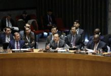 Ma Zhaoxu (C, front), China's permanent representative to the United Nations, addresses a Security Council emgergency meeting on the situation in Venezuela, at the UN headquarters in New York, Jan. 26, 2019. Ma Zhaoxu said Saturday that China opposes foreign interference in Venezuela's affairs while speaking at the United Nations Security Council emergency meeting. (Xinhua/Li Muzi)