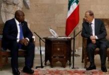 President Michel Aoun meets Guinea-Bissau's Speaker Cipriano Cassama, Jan. 8, 2019. | Dalati Nohra