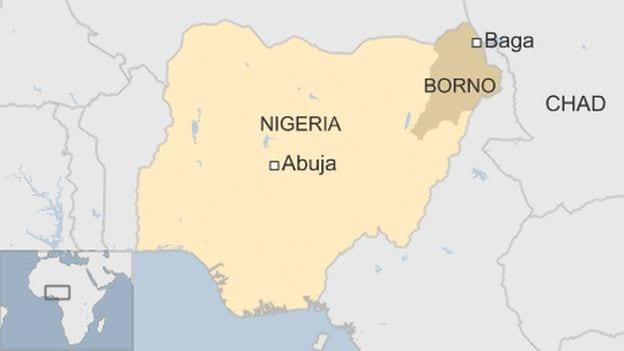 Nigeria Baga map in Borno state