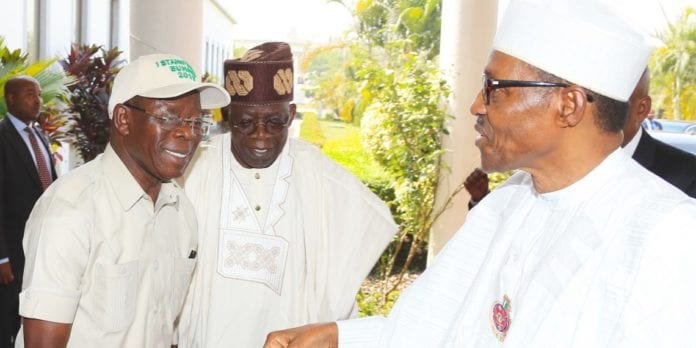 PRESIDENT BUHARI AT THE INAUGURAL MEETING OF APC 2019 PCC 1. ON ARRIVAL; President Muhammadu Buhari, APC National Leader, Asiwaju Ahmed Bola Tinubu and APC National Chairman, Comrade Adams Oshiomhole during the Inaugural meeting of APC 2019 Presidential Campaign Council held at the Presidential Banquet in Abuja. PHOTO; SUNDAY AGHAEZE. JAN 10 2019