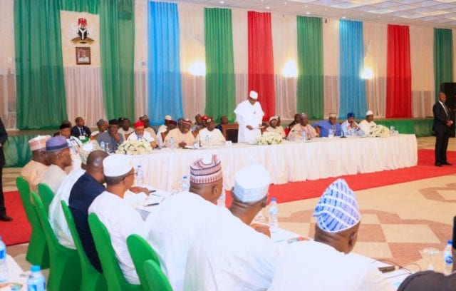 PRESIDENT BUHARI AT THE INAUGURAL MEETING OF APC 2019 PCC 20. President Muhammadu Buhari addressing members of the 2019 Presidential Campaign Council inaugural meeting held at the Presidential Banquet in Abuja. PHOTO; SUNDAY AGHAEZE. JAN 10 1019