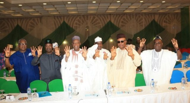 PRESIDENT BUHARI AT THE INAUGURAL MEETING OF APC 2019 PCC 7. 4+4; R-L; SSAP Senate Sen Ita Enang, Former Governor of Akwa IBOM, Sen Godswill Akpabio, Former Governor of Benue State, Senator George Akume, Former Governor of Nassarawa State Sen Abdullahi Adamu, APC Governorship Candidate for Akwa Ibom State, Mr Nsima Ekere and another during the Inaugural meeting of APC 2019 Presidential Campaign Council held at the Presidential Banquet in Abuja. PHOTO; SUNDAY AGHAEZE. JAN 10 2019