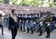 Madagascan President-elect Andry Rajoelina views guard of honour during his swearing-in ceremony at Mahamasina stadium in Antananarivo, capital of Madagascar, Jan. 19, 2019. Andry Rajoelina was sworn in as Madagascar's president on Saturday at Mahamasina stadium in the Madagascan capital city of Antananarivo. (Xinhua/Sitraka)