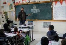 Illustrative: A Palestinian class at the Salem School, East Jerusalem, December 6, 2017. (Nasser Ishtayeh/Flash90)