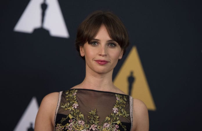 Actress Felicity Jones attends the 8th Annual Governors Awards hosted by the Academy of Motion Picture Arts and Sciences on November 12, 2016, at the Hollywood & Highland Center in Hollywood, California.