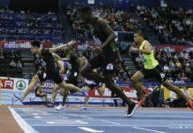 China's Su Bingtian (3rd R) competes in the men's 60m final at the IAAF Indoor Grand Prix in Birmingham, Britain on Feb. 16, 2019. (Xinhua/Han Yan)