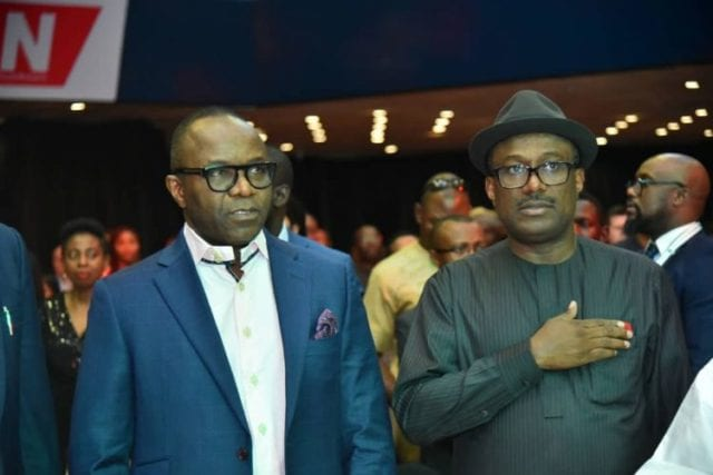 Minister of State Petroleum Resources Dr. Ibe Kachikwu and Mr Simbi Wabote, MD Local Content.