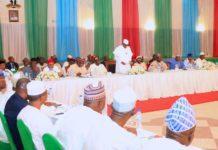PRESIDENT BUHARI AT THE INAUGURAL MEETING OF APC 2019 PCC 20. President Muhammadu Buhari addressing members of the 2019 Presidential Campaign Council inaugural meeting held at the Presidential Banquet in Abuja. PHOTO; SUNDAY AGHAEZE. JAN 10 1019