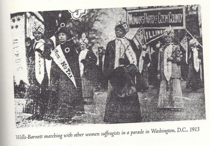 ida b. wells barnett marching in washington d.c. womens suffrage demonstration in 1913
