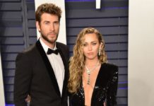 liam hemsworth and miley cyrus at vanity fair party