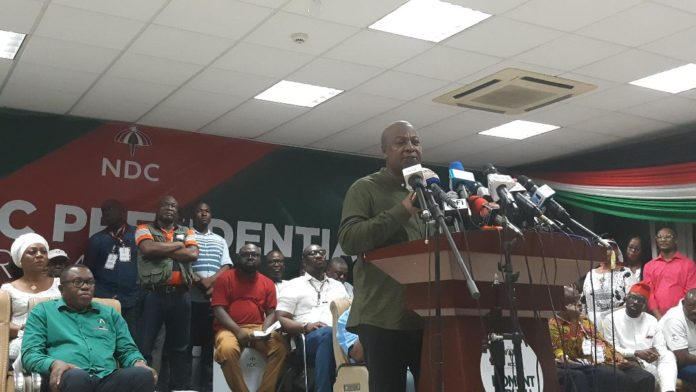 Former President Mahama addressing leaders and supporters of the NDC