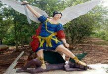 Caucasian Angel Defeating Dark Skinned Devil Large
