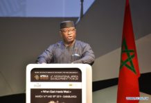 """Sierra Leone's President Julius Maada Bio, whose country is the guest of honor, speaks during the opening session of the sixth International Africa Development Forum (FIAD) in Casablanca, Morocco, on March 14, 2019. The sixth FIAD kicked off Thursday in the Moroccan city of Casablanca under the theme """"when East meets West."""" Organized by the Moroccan pan-African investment fund Al Mada, the two-day meeting is a platform for dialogue, investment promotion and intra-African trade. (Xinhua/Chadi)"""
