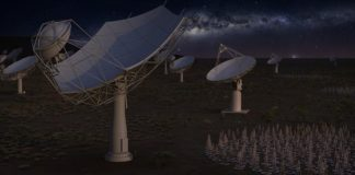 Artist's impression of the full Square Kilometre Array at night. Credit: SKA Organisation