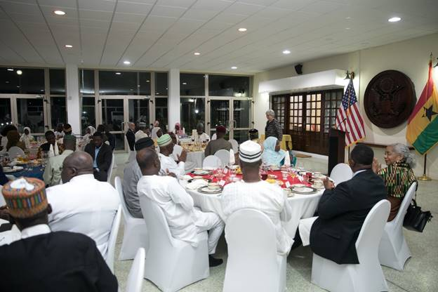 Ambassador Sullivan addressing the invited guests during the May 21, 2019 Iftar dinner at her residence.