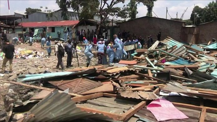 Watch as rescuers rush to clear debris from the site