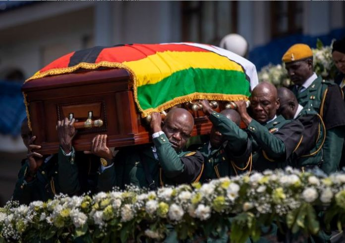 Zimbabwe President Robert G. Mugabe casket carried by soldiers to Rufaro Stadium on September 12, 2019.